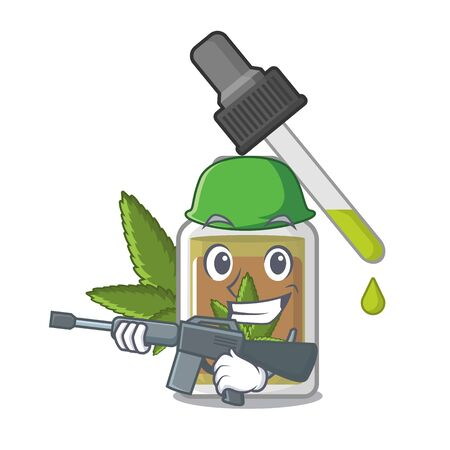 Army hemp oil in the character bottle vector illustration