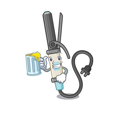 With juice iron curling in the cartoon shape vector illustration