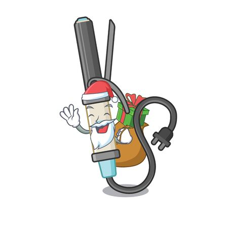 Santa with gift curling iron above dressing table character vector illustration