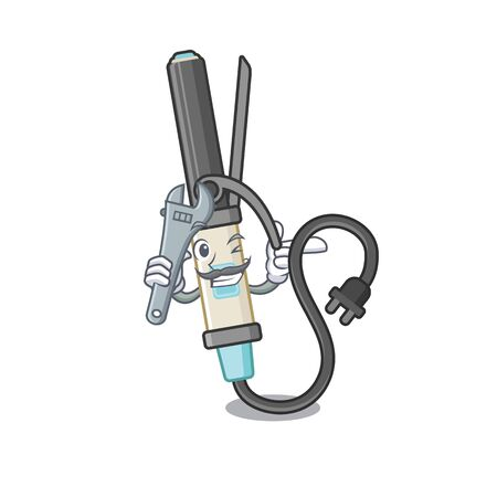 Mechanic curling iron above dressing table character vector illustration