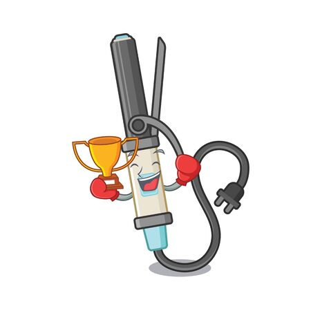 Boxing winner curling iron above dressing table character vector illustration 일러스트