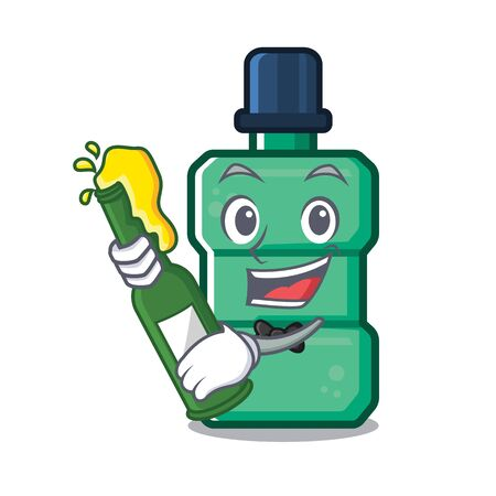 With beer mouthwash above the sink mascot vector illustration