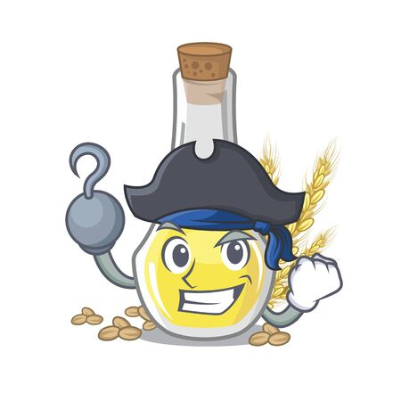 Pirate wheat germ oil with isolated character vector illustration Illustration