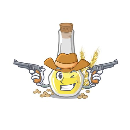 Cowboy wheat germ oil with isolated character vector illustration