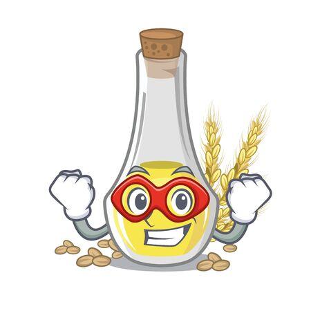 Super hero wheat germ oil the mascot shape vector illustration