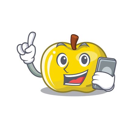 With phone yellow apple the slices cartoon shape vector illustration