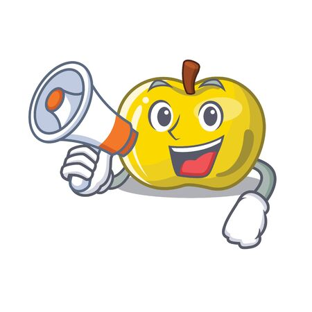 With megaphone yellow apple the slices cartoon shape vector illustration Vettoriali
