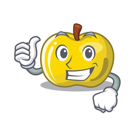 Thumbs up yellow apple in the character shape vector illustration