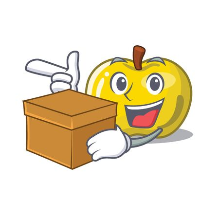 With box yellow apple in the character shape vector illustration Illusztráció