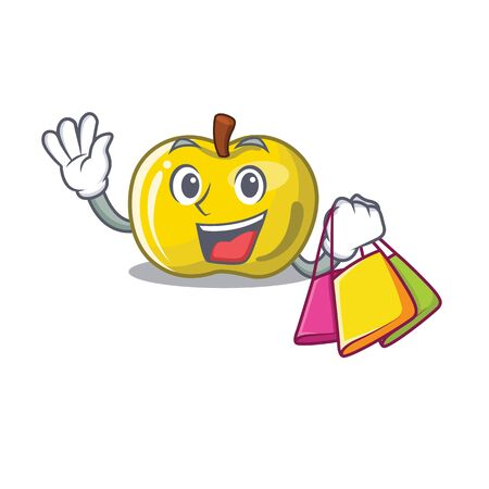 Shopping yellow apple in the character shape vector illustration Ilustração