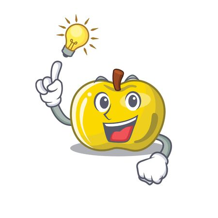 Have an idea yellow apple in a cartoon basket vector illustration Çizim