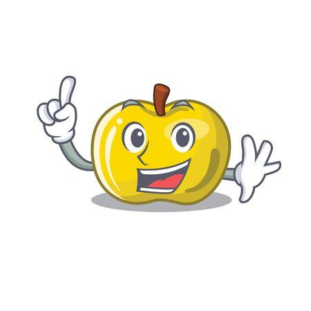 Finger yellow apple in a cartoon basket vector illustration Illustration