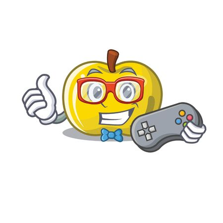 Gamer yellow apple isolated with the mascot vector illustration