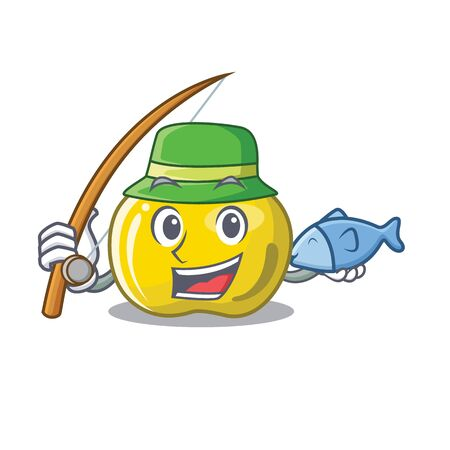 Fishing yellow apple isolated with the mascot vector illustration