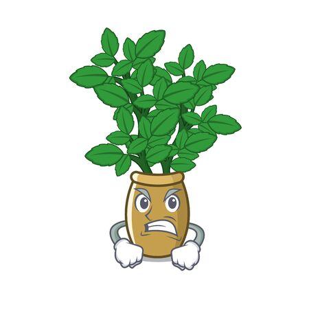 Angry lemon balm in the cartoon shape vector illustration