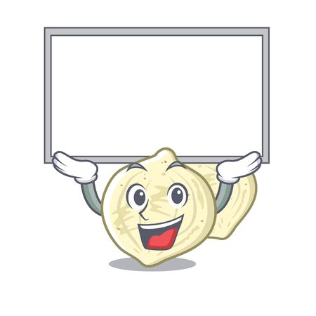 Up board jicama with in the isolated mascot vector illustration