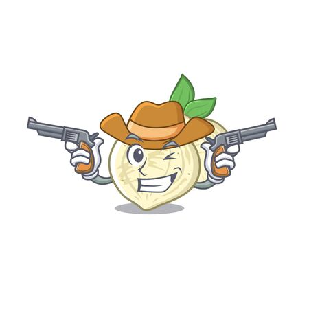 Cowboy jicama with in the isolated mascot vector illustration Stock Vector - 127815744