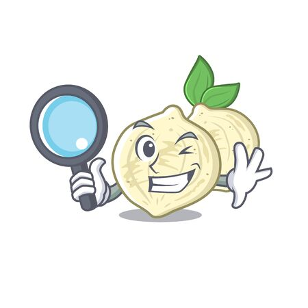 Detective jicama slices in a cartoon bowl vector illustration