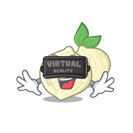 Virtual reality jicama fruit in the character refrigerator vector illustration
