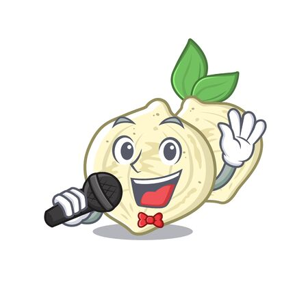 Singing jicama fruit in the character refrigerator vector illustration