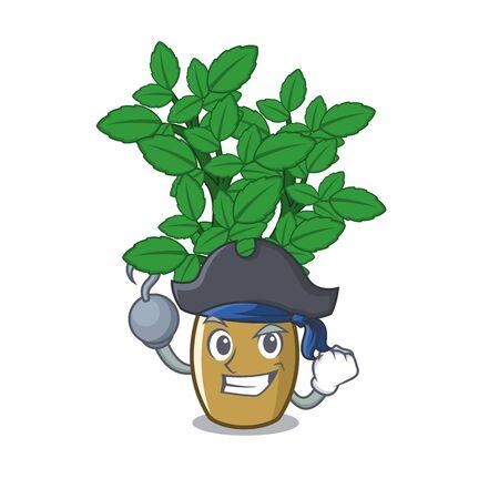 Pirate lemon balm isolated in the character vector illustration Ilustração