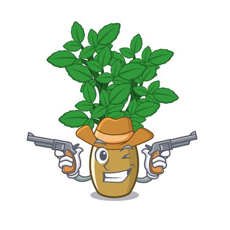 Cowboy lemon balm isolated in the character vector illustration