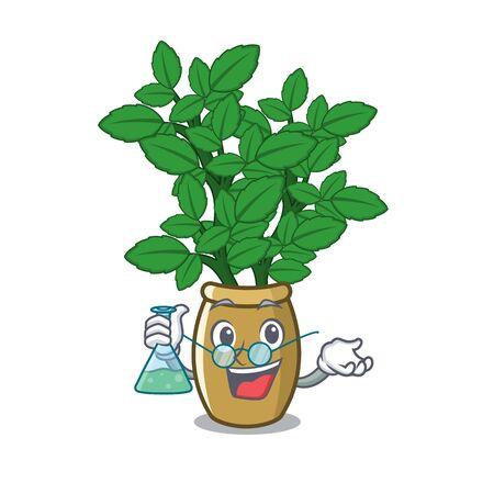 Professor lemon balm in a mascot pot vector illustration Ilustracja