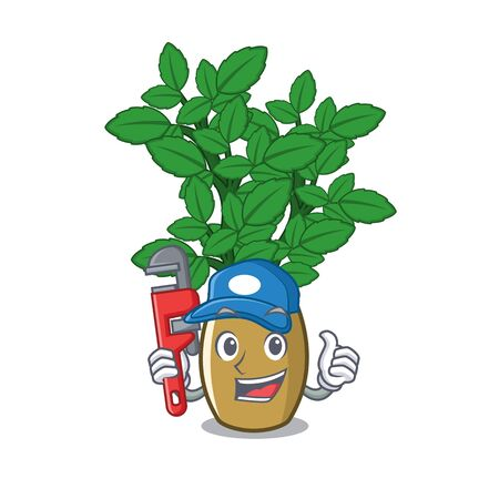 Plumber lemon balm next the cartoon house vector illustration