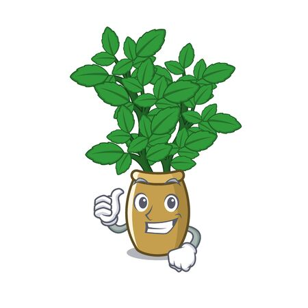 Thumbs up lemon balm in a mascot pot vector illustration