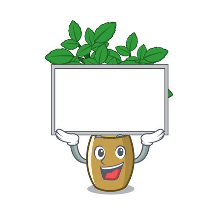 Up board lemon balm isolated in the character vector illustration