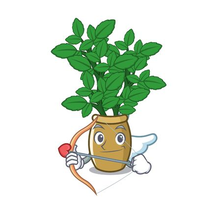 Cupid lemon balm isolated in the character vector illustration
