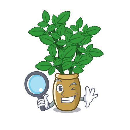 Detective lemon balm in a mascot pot vector illustration