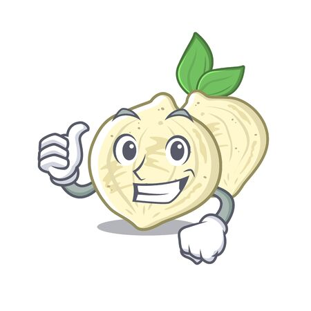 Thumbs up jicama slices in a cartoon bowl vector illustration