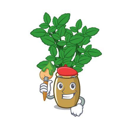 Artist lemon balm isolated in the character vector illustration
