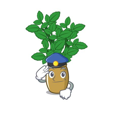 Police lemon balm isolated in the character vector illustration