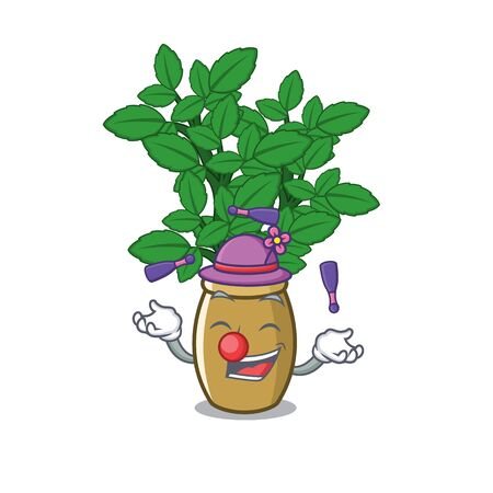 Juggling lemon balm next the cartoon house vector illustration Ilustração