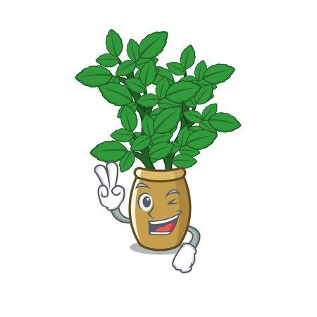 Two finger lemon balm in a mascot pot vector illustration