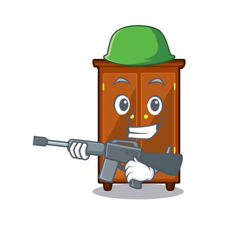 Army wardrobe in the a mascot bedroom vector illustration