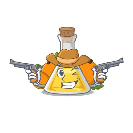 Cowboy apricot oil in the character bottle vector illustration