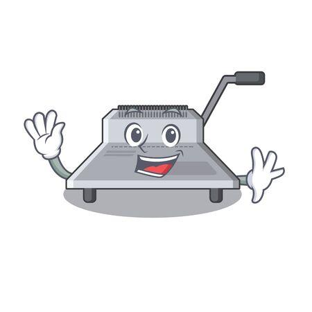 Waving binding machine in the cartoon shape vector illustration Illustration