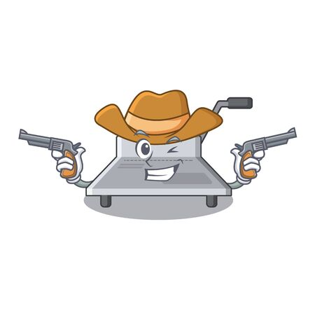 Cowboy binding machine isolated in the mascot vector illustration