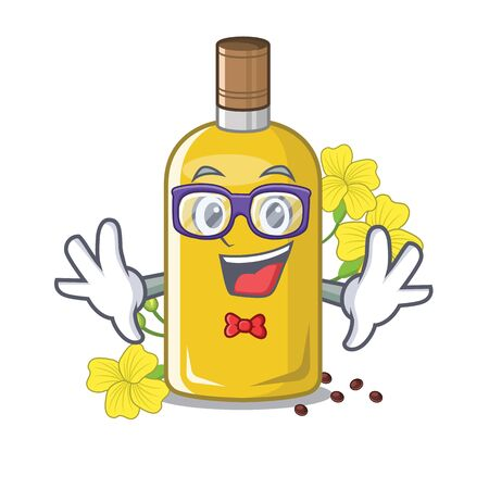Geek canola oil in the mascot shape vector illustration