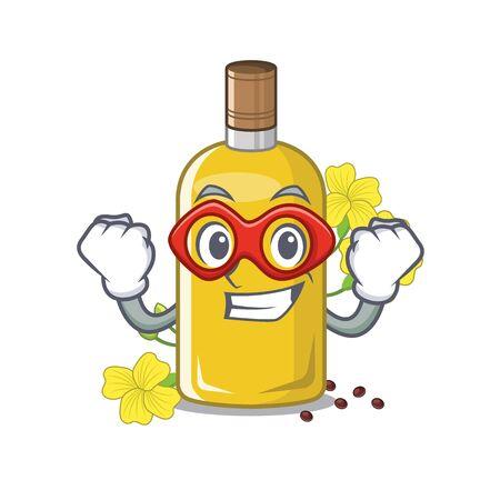 Super hero canola oil in the mascot shape vector illustration