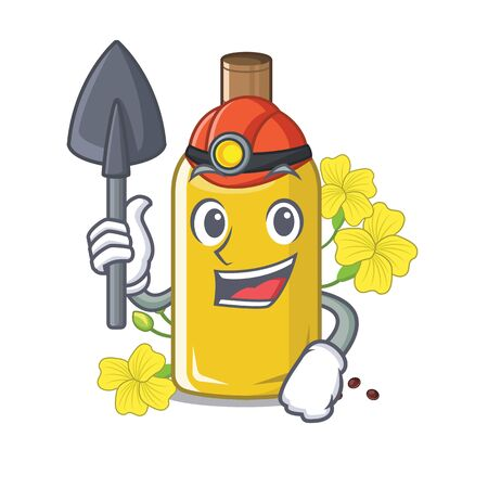 Miner canola oil above the chair character vector illustration