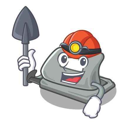 Miner hole puncher placed in cartoon drawer vector illustration Illusztráció
