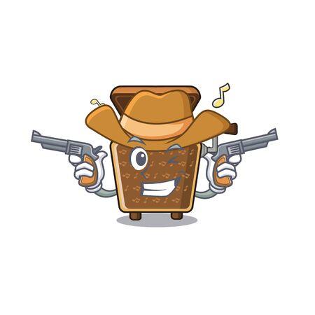 Cowboy music box in cartoon glass cabinet vector illustration