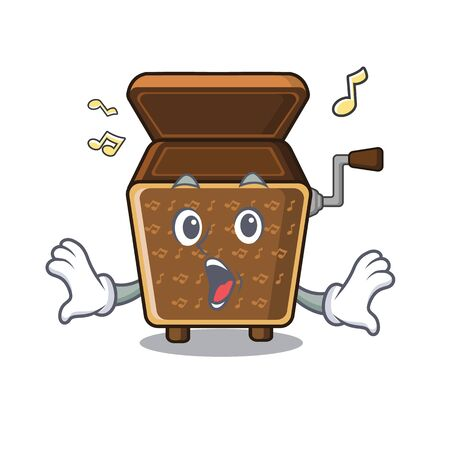Surprised music box in the character shape vector illustration