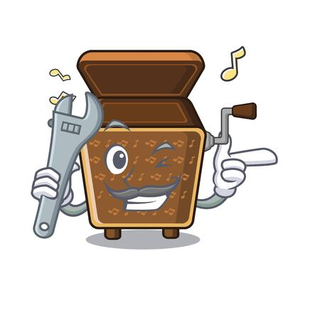Mechanic toy music box the mascot table vector illustration Illustration