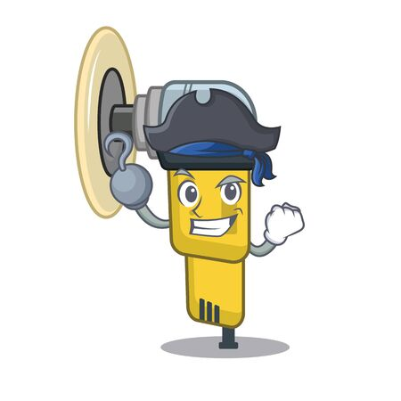 Pirate pneumatic sander in the mascot shape vector illustration