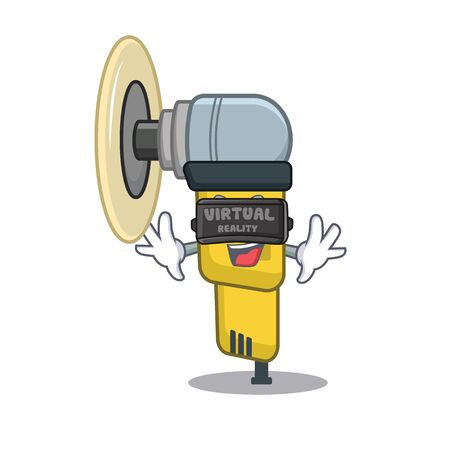 Virtual reality pneumatic sander isolated with the cartoon vector illustration Illustration